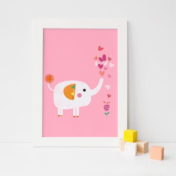 Elephant and Flower Art Print - ElephantFlowerPrint Pink
