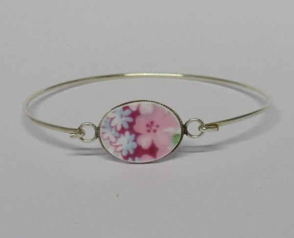 Bangle with Vintage China Pink Blossom