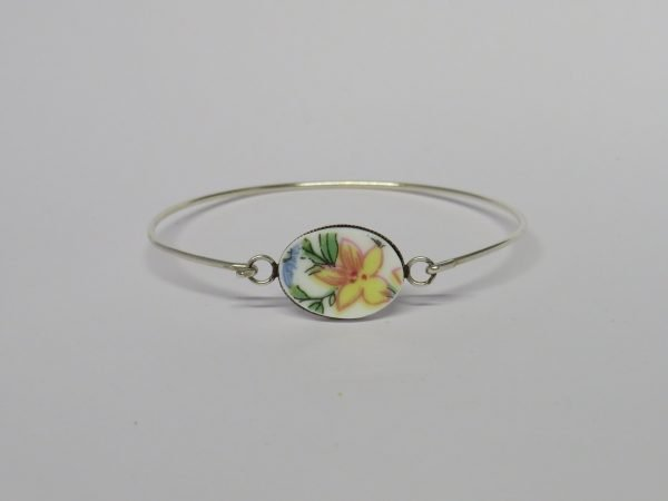 Bangle with Vintage China Yellow Flower