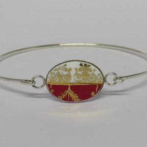 Bangle with Vintage China Red and Gold