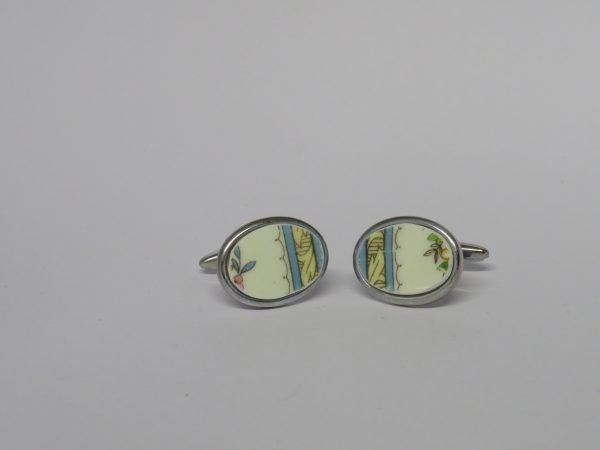 Cufflinks with Vintage Yellow and Blue China