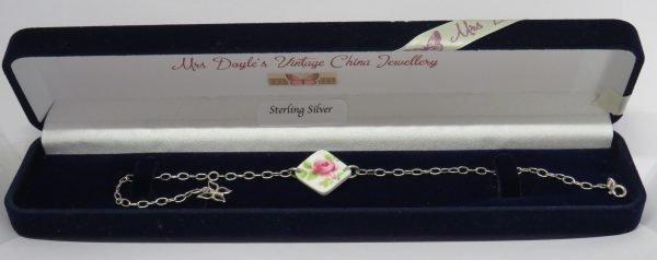 Bracelet with Vintage Bone China Pink Blossom