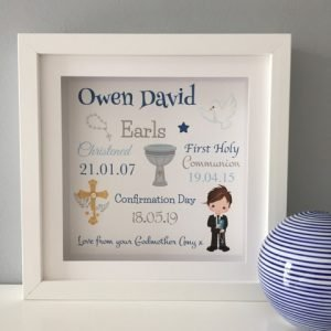 personalised confirmation day frame for boy