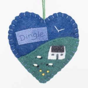 Personalised Irish Cottage Felt Ornament (Blue)