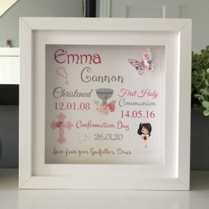 personalised confirmation frame for girl
