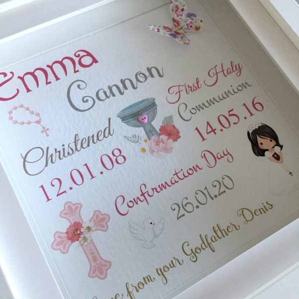 personalised confirmation frame for girl or boy