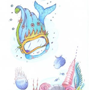 Mermaid under water ocean friends wall print