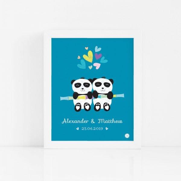 Twin Panda Babies Art Print - PANDA BOYTWINS CUSTOM