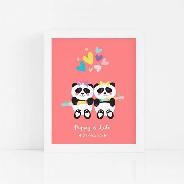 Twin Panda Babies Art Print - PANDA GIRL TWINS CUSTOM