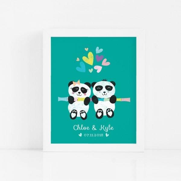 Twin Panda Babies Art Print - PANDA TWINS CUSTOM