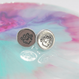 Heart Pawprint Earrings