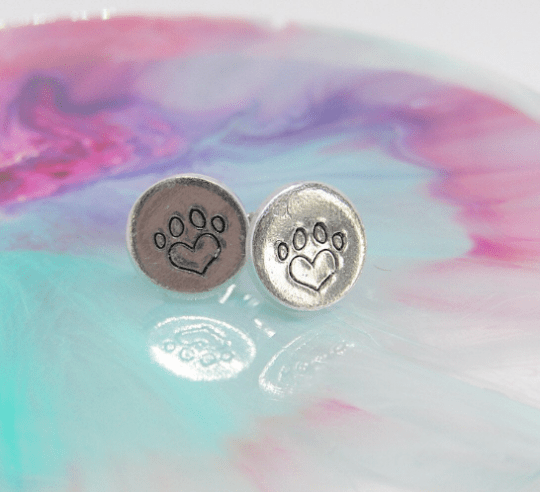 Heart Pawprint Earrings - pawprint heart earrings