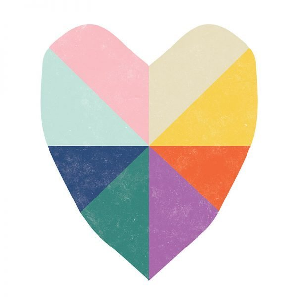 Rainbow Love Heart Greeting Card - rainbow heart detail