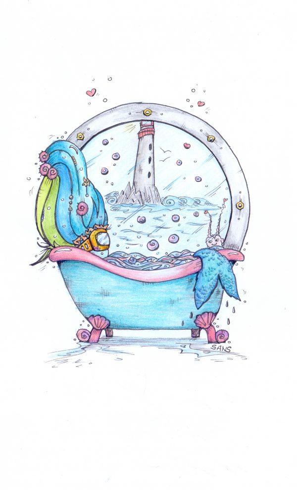 mermaid in a bathtub
