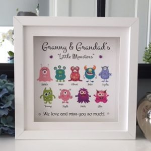granny & Grandad's little monsters personalised frame