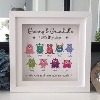 granny & Grandad's little monsters personalised frame