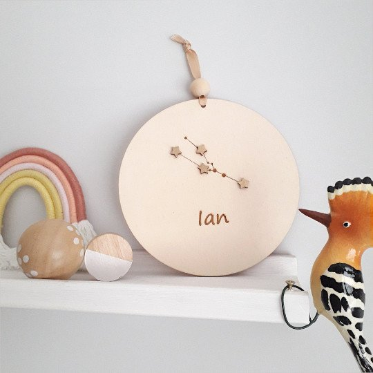 Wooden Plaque with Zodiac Constellation