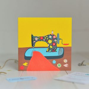 Greeting Card with illustration of a vintage sewing machine