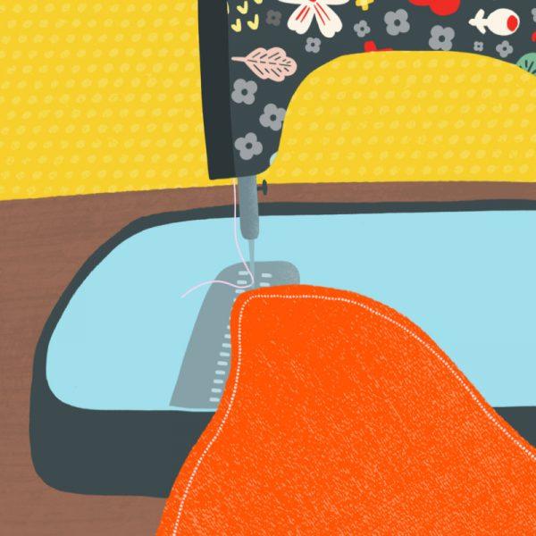 Greeting Card - Sewing Machine - closeup sewing machine