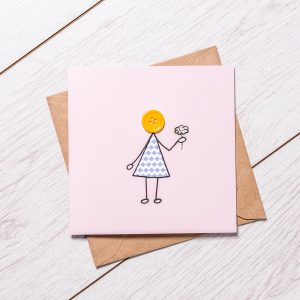 Girl with Flower greeting card