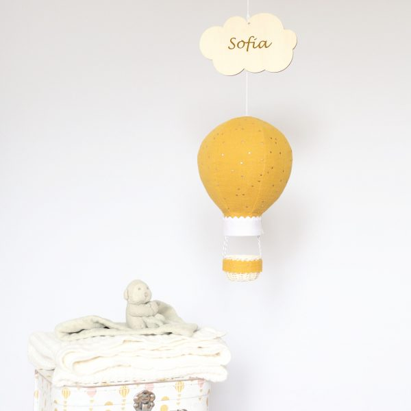 Mustard Balloon with Gold Dots