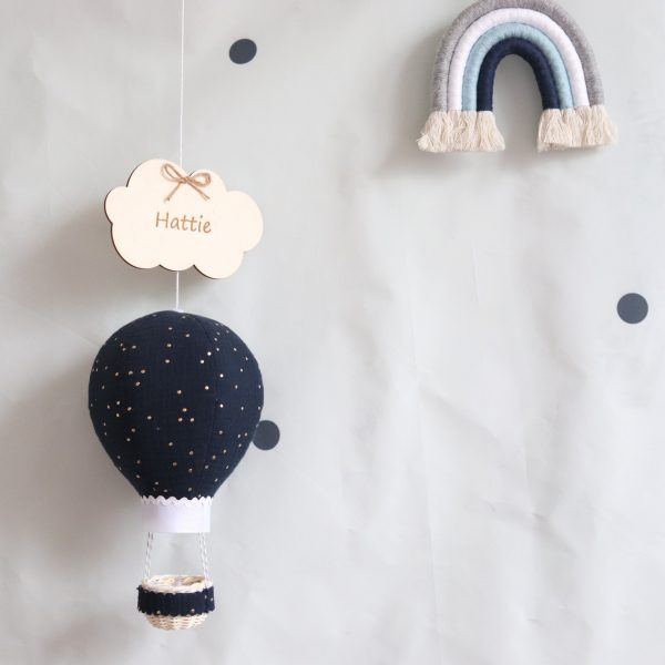 Navy Muslin Balloon With Gold Dots - navy with a rainbow