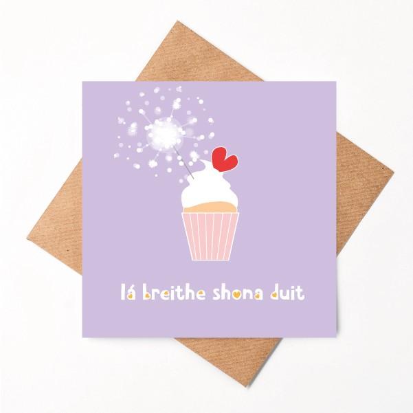 Lá Breithe Shona Duit Lilac greeting card