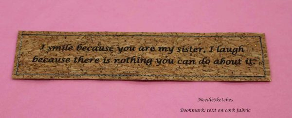 Handmade Bookmark with Custom Quote - sister