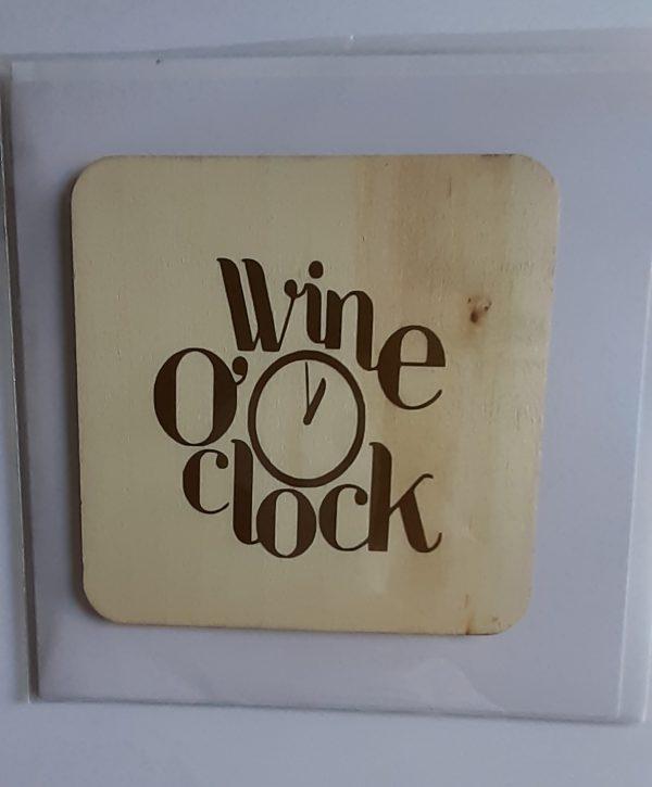 Wine O Clock card and coaster