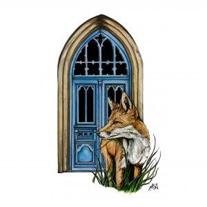 Fox and Blue Door art print