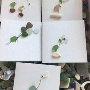 Set of 5 Bird Seaglass Notecards