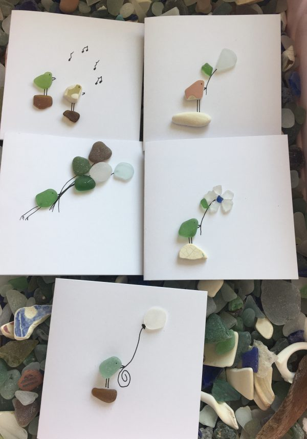 Set of 5 Bird Seaglass Notecards