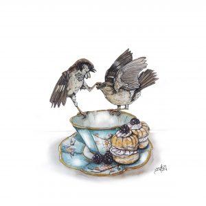 Sparring Sparrows art print