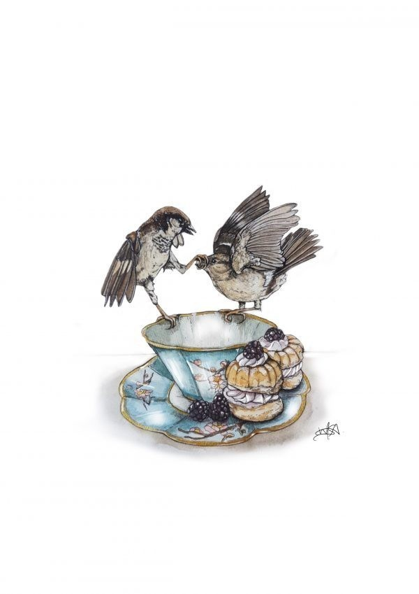 Sparring Sparrows art print