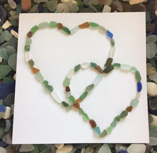Seaglass Two Hearts Card