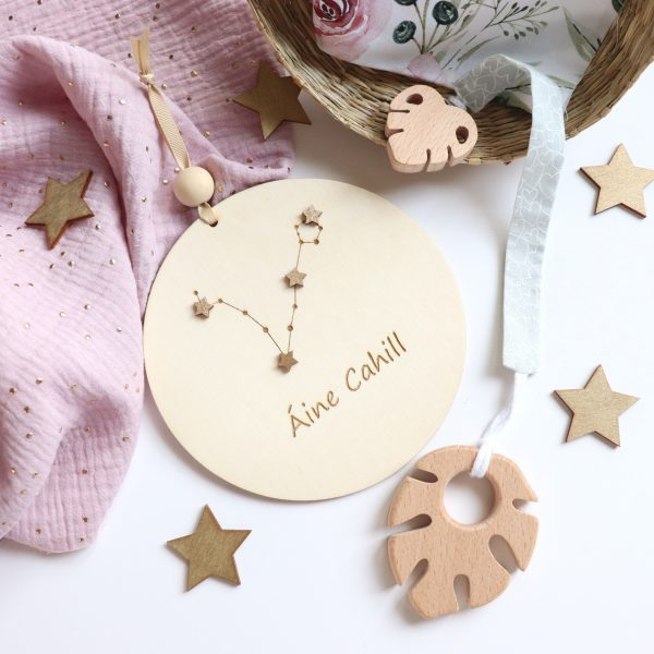 Wooden Plaque with Zodiac Constellation - Aine