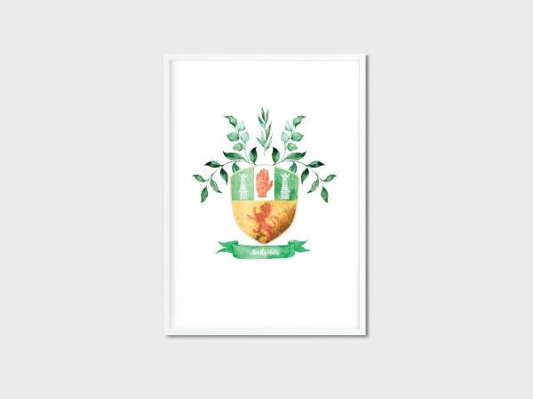 County Crest/Coat of Arms - Irish Made - 32 Counties of Ireland - Aontroim white frame