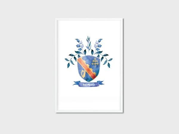 County Crest/Coat of Arms - Irish Made - 32 Counties of Ireland - Ard Mhacha white frame