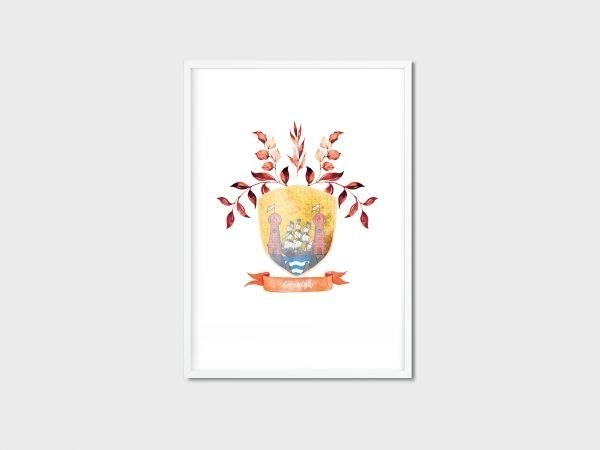 County Crest/Coat of Arms - Irish Made - 32 Counties of Ireland - Corcaigh white frame