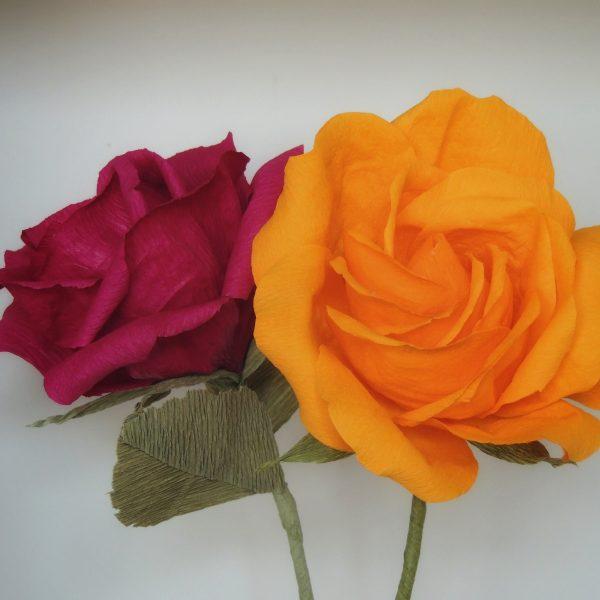 Rose crepe paper flower - DSCN6157 02 scaled