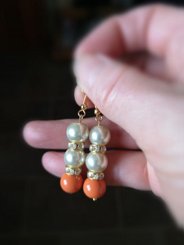 Double Pearl & Orange Drop Earrings