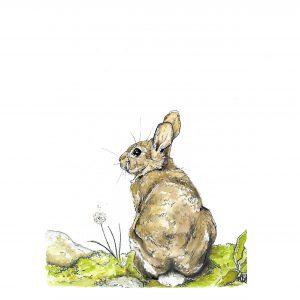 Rabbit and Dandelion art print