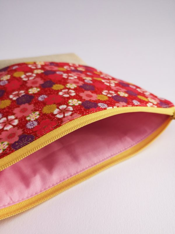 Beige and Red Floral Makeup Bag - IMG 20190109 104803 scaled