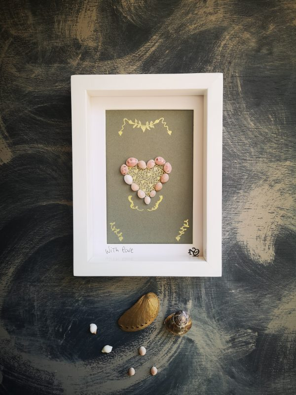 With Love framed shell art