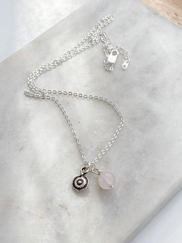 Vintage Mini Disc Silver Charm Necklace