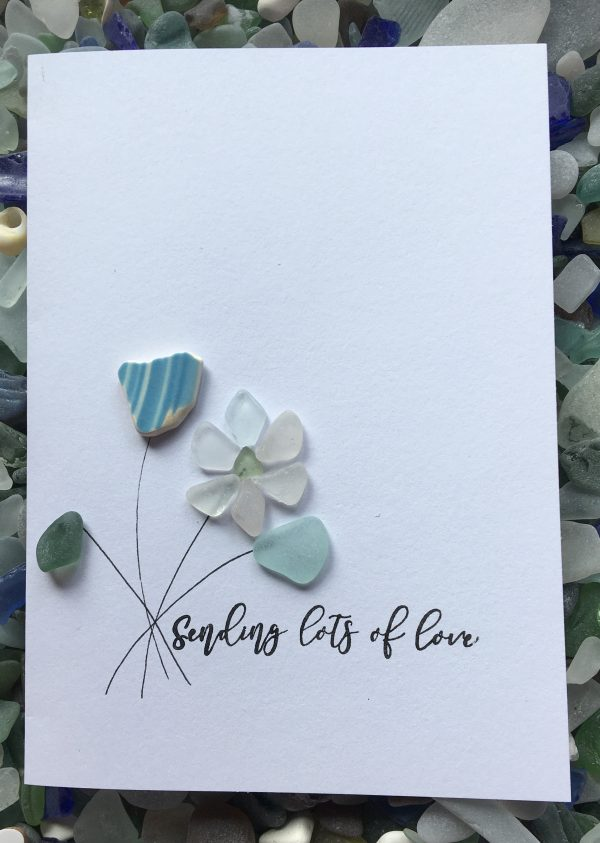 sending lots of love card seaglass art