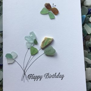 Happy birthday card seaglass art