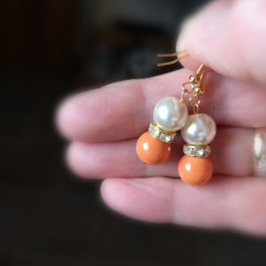 Pear & Orange Drop Earrings