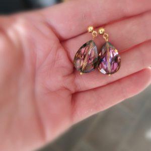 Purple Teardrop Crystal Earrings