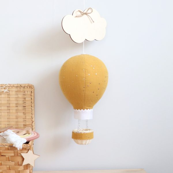 Mustard Muslin Balloon with Gold Dots - ochre with basket